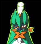 2016 alpha_channel ambiguous_gender anthro arrow avian beak bird blik blue_beak bust_portrait cel_shading decidueye digital_media_(artwork) eye_markings feathers front_view i-am-that-japanesse leaf looking_at_viewer low_res markings nintendo object_in_mouth orange_markings plant pokémon portrait red_eyes shaded simple_background solo transparent_background video_games white_feathers