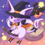black_bow black_gloves black_hat black_socks bow broom broom_riding cape clothing cute_fangs eeveelution espeon female full_body gloves hat legwear looking_at_viewer magic_user nintendo one_eye_closed open_mouth orange_background orange_bow pokémon pokémon_(species) pumpkaboo purple_background purple_eyes raised_arm simple_background smile socks star unknown_artist video_games wink witch witch_hat