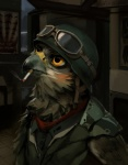 2015 anthro armor avian beak bird brown_feathers cigarette clothed clothing combat_helmet eyewear feathers goggles hawk hax_(artist) helmet kenket lofi looking_up male military orange_eyes painting portrait shirt smoking solo uniform