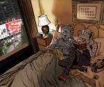 alarm_clock anthro australia bed bedroom billmund book clock clothed clothing duo feline female footwear hi_res high_heels holding_book holding_object inside lying male mammal nineteen_eighty-four on_back pajamas phone pillow shoes sleeping smile windowRating: SafeScore: 7User: BooruHitomiDate: September 21, 2017