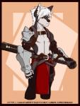 2013 anthro armor belt bulge canine castbound clothing dog fantasy gauntlets gloves husky kevak knife leather light loincloth male mammal melee_weapon pants solo sword weapon