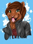 2014 anthro blue_background brown_fur brown_hair bust_portrait chandler_(chandlertheotter) clothing digital_media_(artwork) flower fur green_eyes hair jacket jewelry kimberofinfinityworks mammal mustelid necklace otter pink_nose plant portrait shirt signature simple_background smile solo teeth tongue tongue_out whiskersRating: SafeScore: 5User: ChandlerTheOtterDate: September 13, 2015