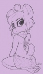 2017 ahoge alec8ter anthro ass_cleavage barefoot bear butt clothed clothing female ken_ashcorp kenny_(kenashcorp) kneeling looking_at_viewer looking_back mammal monochrome panda purple_background rear_view simple_background solo virgin_killer_sweaterRating: SafeScore: 6User: JAKXXX3Date: January 31, 2017