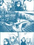 2015 anthro building cloak clothing comic duo feline female flora_(twokinds) forest fur hair human keidran male mammal monochrome outside sketch tavern tiger tom_fischbach trace_legacy tree twokinds webcomic well