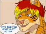 anthro dialogue english_text feline low_res male mammal mr_baton reaction_image simple_background smile solo stripes text tiger