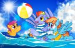 2017 ball beach_ball bow_hothoof_(mlp) clothing cloud cub cute cutie_mark dsana equine eyelashes eyewear family feathered_wings feathers female floating friendship_is_magic group hair hi_res hooves inner_tube lying male mammal mohawk mostly_nude multicolored_hair my_little_pony nude on_back open_mouth open_smile orange_hair parent pegasus playing purple_eyes purple_hair rainbow_dash_(mlp) rainbow_hair scootaloo_(mlp) sea shirt sky smile stripes summer sun sunglasses sunlight swimming teeth tongue two_tone_hair water windy_whistles_(mlp) wings yellow_eyes young