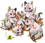 amaterasu black_eyes bone canine capcom cub cute deity female feral flower fur grass group issun izumi_asuka low_res mammal plant poncle video_games white_fur wolf young ŌkamiRating: SafeScore: 5User: Kitsu~Date: August 07, 2009