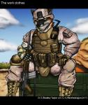 2018 anthro armor boots bradley_taylor_(renthedragon) bulletproof_vest canine clothed clothing cybernetic_arm english_text footwear fox gloves green_eyes gun helmet hi_res looking_at_viewer mammal marine_corps military outside ranged_weapon renthedragon rifle rifle_sling sitting soldier text usmc walkie_talkie weapon