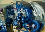 bedroom blue_skin catbus digimon dragon duo exveemon ghibli horn human inside macro male mammal membranous_wings muscular my_neighbor_totoro rinpoo_chuang scalie size_difference television vehicle_cat video_games wings