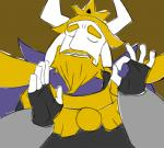 5_fingers anthro asgore_dreemurr blonde_hair boss_monster caprine clothing eyebrows eyes_closed facial_hair fur goat hair horn humor just_right male mammal meme ok_sign pacha_(the_emperor's_new_groove) purple_background reaction_image simple_background solo the_emperor's_new_groove undertale unknown_artist video_games white_fur