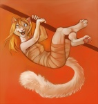 anthro blonde_hair blue_eyes cat dangling demicoeur derp_eyes digital_media_(artwork) fangs feline female hair hindpaw insane leg_wrap mammal orange_background paws simple_background solo