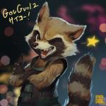 anthro brown_fur claws clothed clothing english_text fur guardians_of_the_galaxy hi_res japanese_text male mammal marvel one_eye_closed ovopack raccoon rocket_raccoon solo tan_fur teeth text white_fur wink