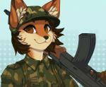 ak-47 anthro assault_rifle black_nose brown_eyes brown_hair canine clothed clothing female fox fur gun hair holding_object holding_weapon mammal orange_fur ranged_weapon redcreator rifle simple_background smile solo weaponRating: SafeScore: 24User: MillcoreDate: April 04, 2017