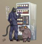 avian bird business_suit clothed clothing duo feline fully_clothed japanese_text mammal panther penguin shaolin_bones size_difference standing suit text translated vending_machineRating: SafeScore: 6User: LoupMouneDate: October 18, 2017