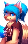 2012 anthro blue_eyes blue_hair breasts cute digital_media_(artwork) falvie female fluffy glowing hair jersey looking_at_viewer mammal meria procyonid raccoon simple_background solo white_background