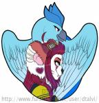 ambiguous_form ambiguous_gender anthro avian bird dtalvi duo facial_piercing feathered_wings feathers feline female mammal nose_piercing piercing smile wings