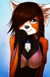 anthro aura_skytower between_breasts bikini breasts cleavage clothed clothing cute female hair hair_over_eye half-length_portrait hi_res looking_at_viewer mammal nayel-ie portrait red_panda skimpy solo sunscreen swimsuitRating: SafeScore: 146User: ippiki_ookamiDate: May 05, 2013