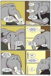 2018 anthro clothed clothing comic dialogue elephant english_text eyes_closed father male mammal mature_male parent ragdoll_(study_partners) son speech_bubble study_partners text thunderouserections trunk tusks young