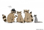 anthro cigar cute gangster group hat humor liz_climo mafia male mammal procyonid pun raccoon rat rodent simple_background smoking white_background