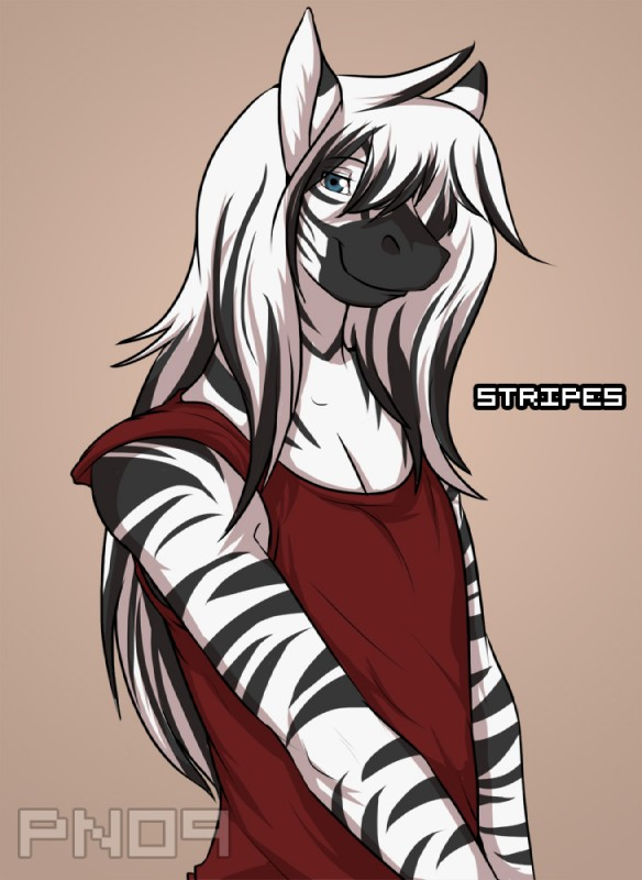 e926 2012 anthro black_fur black_hair black_stripes character_name clothed clothing digital_media_(artwork) equine front_view fur green_eyes hair half-length_portrait long_hair looking_at_viewer male mammal multicolored_hair pn09 portrait red_clothing red_shirt red_topwear shirt signature simple_background smile solo standing striped_fur stripes stripes_(character) tan_background tank_top two_tone_hair white_fur white_hair zebra