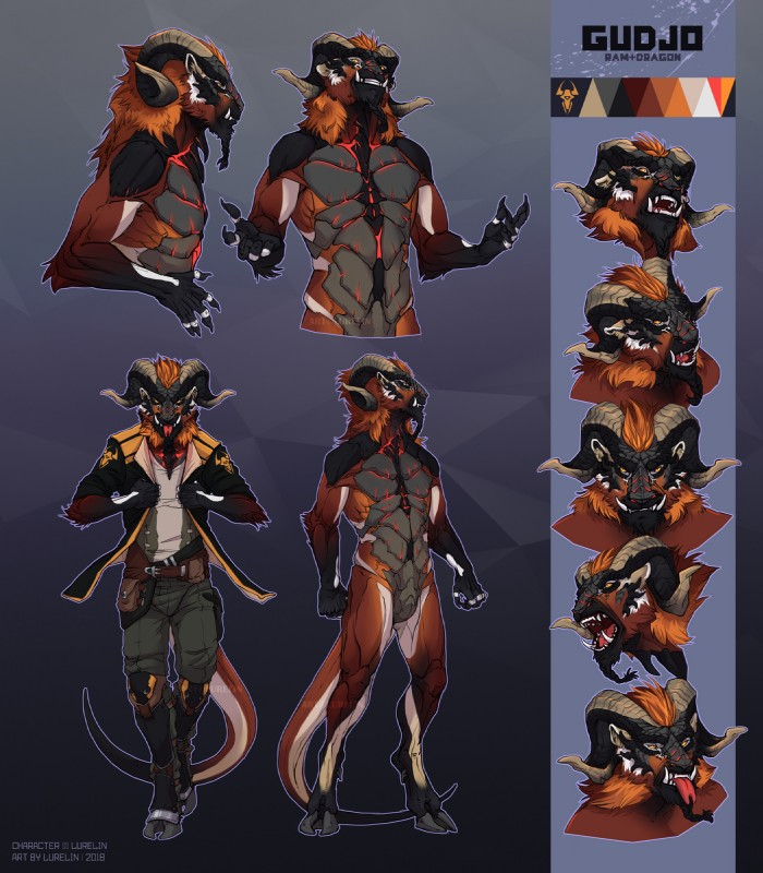 e926 alien anthro caprine clothed clothing cloven_hooves digitigrade featureless_crotch fully_clothed fur goat hooves horn jacket lurelin male mammal model_sheet muscular nude orange_fur smile snarling solo standing tongue tongue_out tusks walking
