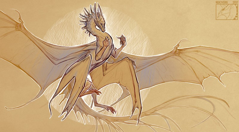 e926 2017 claws digital_media_(artwork) dragon feral membranous_wings neboveria scalie solo western_dragon wings
