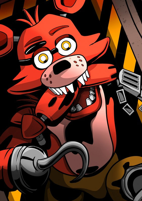 e926 2018 absurd_res animatronic anthro canine digital_media_(artwork) five_nights_at_freddy's fox foxy_(fnaf) hi_res hook looking_at_viewer machine male mammal robot shu_20625 simple_background video_games