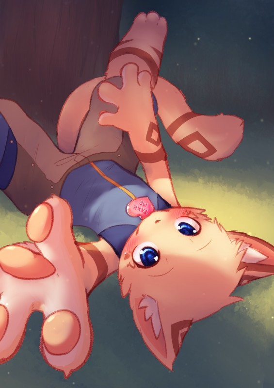 e926 4_fingers anthro blue_eyes blush brown_fur cat clothed clothing cub feline fur looking_at_viewer lying male mammal nobusuke on_back shorts solo white_fur young