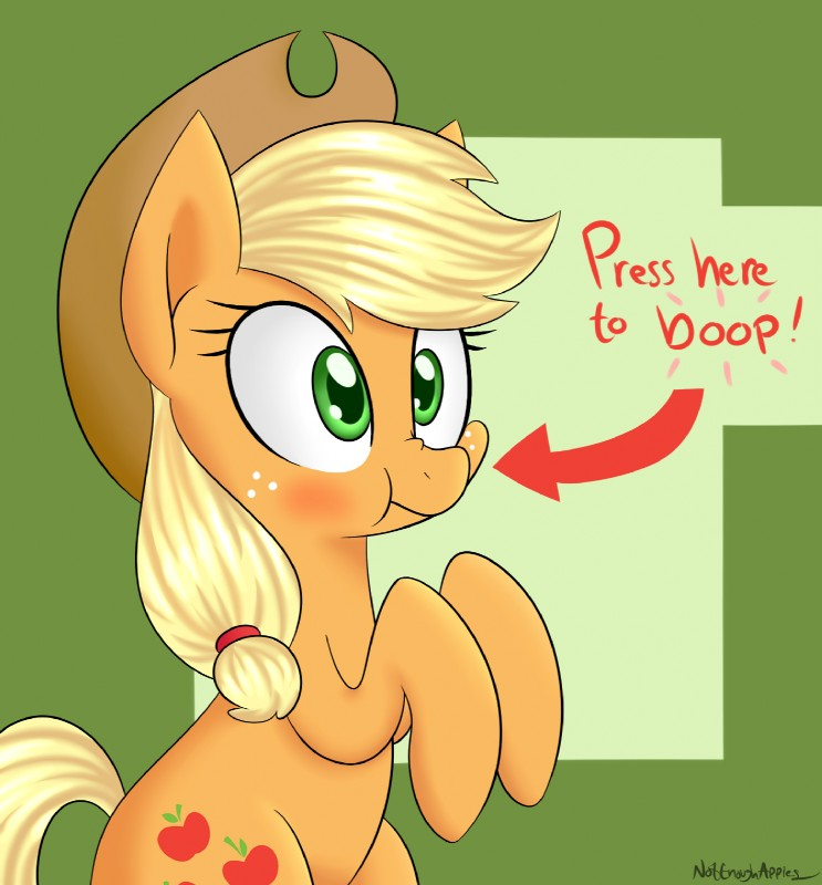 e926 2015 applejack_(mlp) cute cutie_mark earth_pony equine female feral friendship_is_magic hat hi_res horse mammal my_little_pony notenoughapples pony solo text