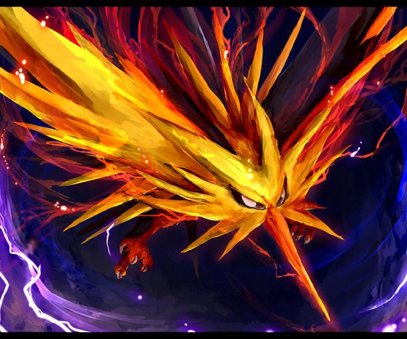 e926 ambiguous_gender avian beak bird electricity legendary_pokémon nintendo pokémon pokémon_(species) solo talons tsurara_neko video_games wings yellow_body zapdos