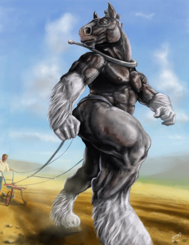 e926 2014 5_fingers abs anthro biceps biped black_fur black_nipples blue_sky brown_hooves clothed clothing clydesdale day detailed_background digital_media_(artwork) draft_horse duo equine farmer feathering field fur hi_res hooves horse human humanoid_hands looking_away male mammal multicolored_fur muscular muscular_male nipples nude outside pecs rannik signature sky snout solo_focus trogan two_tone_fur vein veiny_muscles walking white_fur