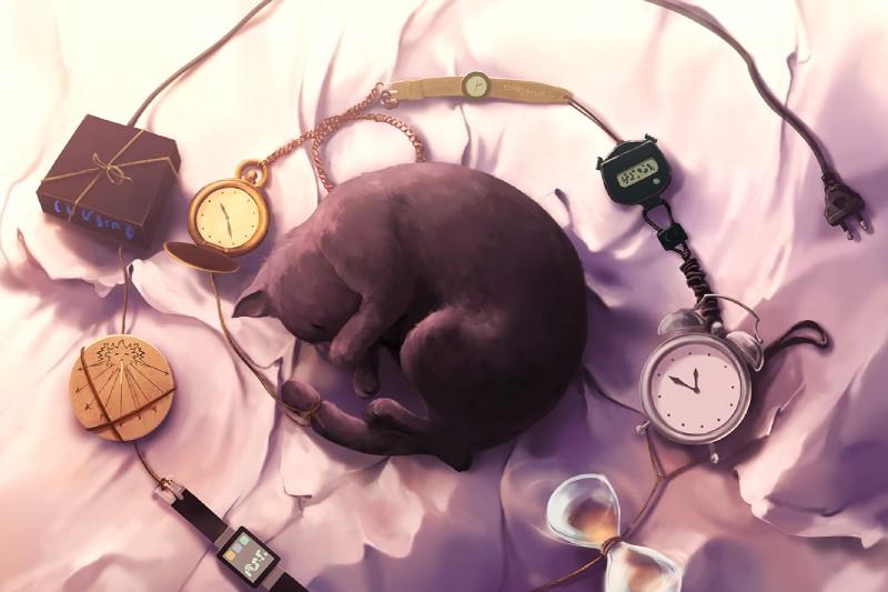 e926 ambiguous_gender aquasixio black_fur cat clock digital_drawing_(artwork) digital_media_(artwork) feline feral fur lying mammal solo