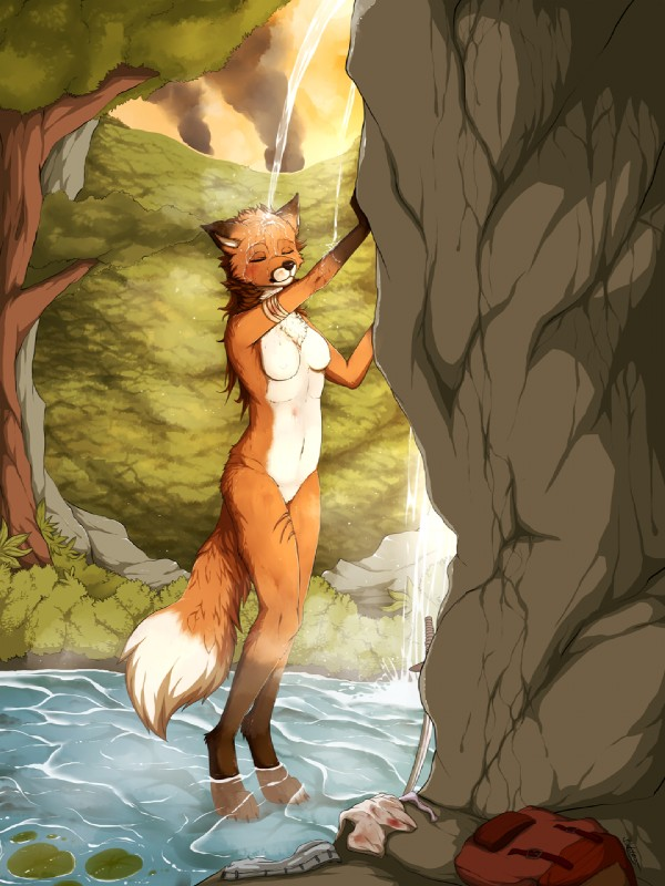 e926 2017 anthro backpack bandage blackfury blood_on_clothing breasts brown_hair canine detailed_background digital_media_(artwork) digitigrade eyes_closed featureless_breasts featureless_crotch female fox fur hair mammal melee_weapon nude orange_fur outside rock solo standing sword water waterfall weapon wet