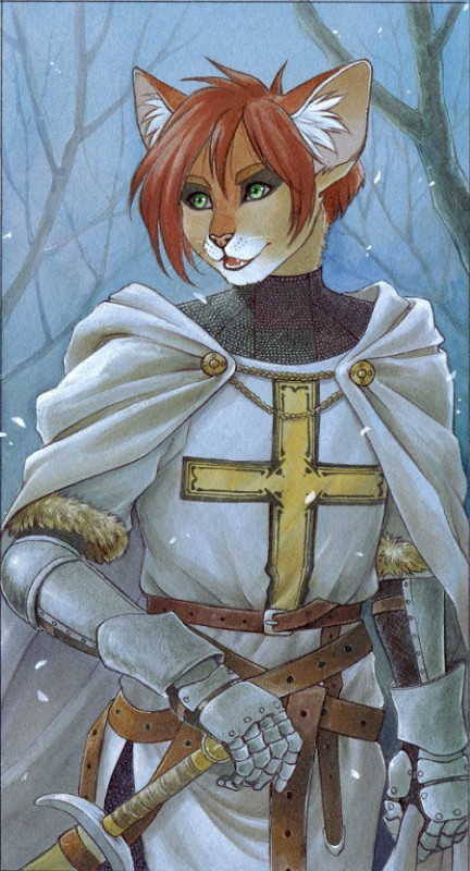 e926 ambiguous_gender anthro armor cape cat chainmail clothing cross feline green_eyes hair knight knight_templar mammal melee_weapon nekoart open_mouth red_hair snow solo sword tabard traditional_media_(artwork) tree weapon