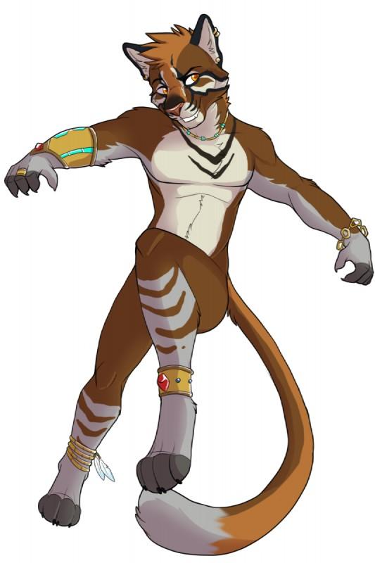 e926 2014 anthro asian_golden_cat bracelet ear_piercing fcsimba feline gold_(metal) hi_res jewelry jungle male mammal markings piercing rye smile solo tribal
