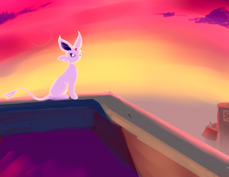 e926 2018 absurd_res ambiguous_gender building digital_drawing_(artwork) digital_media_(artwork) eeveelution espeon fog hi_res looking_at_viewer mammal nintendo on_roof outside pokémon pokémon_(species) rooftop simple_background solo video_games xera_wraps_(artist)
