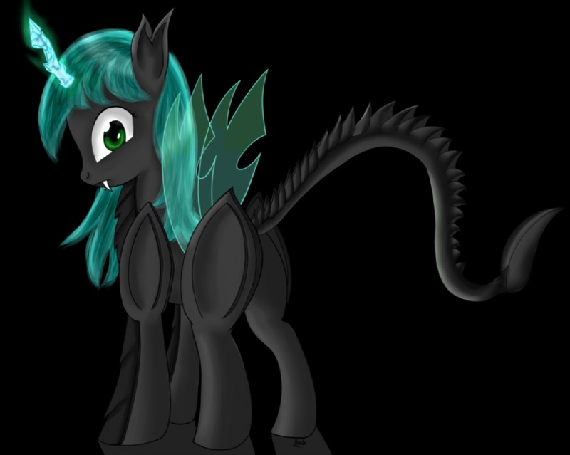 e926 black_fur changeling dragonfoorm fan_character friendship_is_magic fur green_hair hair looking_at_viewer my_little_pony