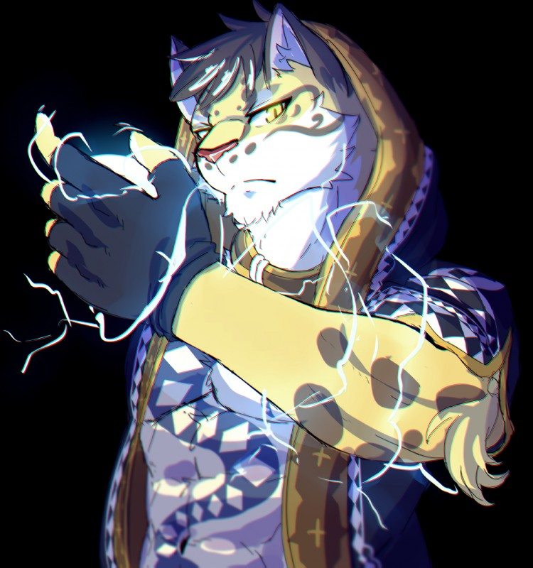 e926 2017 5_fingers abs anthro black_hair chest_tuft chromatic_aberration clothed clothing depth_of_field electricity feline fingerless_gloves fur gloves hair hi_res hoodie inner_ear_fluff leopard likulau looking_at_viewer male mammal muscular nekojishi red_nose serious solo soraa spots spotted_fur tattoo tuft yellow_eyes yellow_fur
