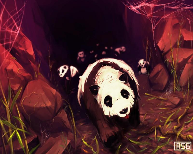 e926 ambiguous_gender aquasixio bear black_nose digital_media_(artwork) digital_painting_(artwork) feral grass group mammal panda