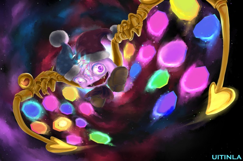 e926 2018 <3 body_horror bow_tie claws fangs flying glowing hat hi_res jester kirby_(series) machine male marx nebula nintendo not_furry purple_eyes purple_skin rave smile solo space splitting_apart talons teeth tongue uitinla video_games wings