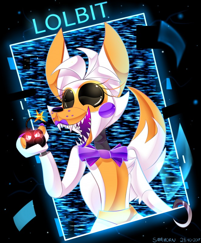 e926 absurd_res animatronic bomb canine digital_media_(artwork) explosives five_nights_at_freddy's five_nights_at_freddy's_world fox fur hi_res hook lolbit_(fnaf) machine mammal robot sideshow-spottus simple_background video_games