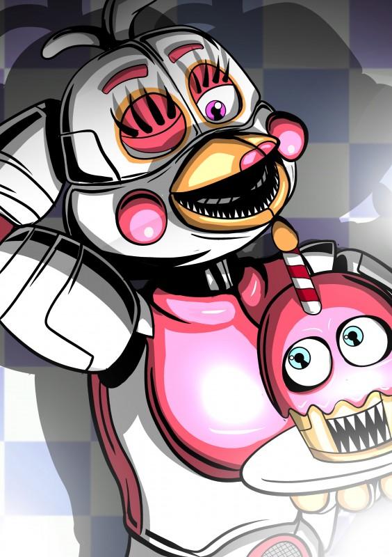 e926 2018 absurd_res animatronic avian beak bird chicken digital_media_(artwork) five_nights_at_freddy's freddy_fazbear's_pizzeria_simulator funtime_chica_(fnaf) funtime_cupcake_(fnaf) hi_res machine mammal robot shu_20625 simple_background video_games