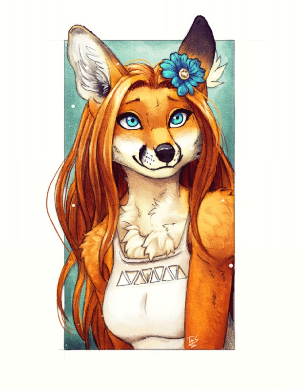 e926 2017 anthro black_nose blue_eyes breasts brown_hair canine chest_tuft clothed clothing female flower flower_in_hair fox fur hair inner_ear_fluff mammal orange_fur orange_hair plant red_fox smile solo tasanko tuft white_fur