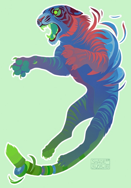 e926 2015 ambiguous_gender candy_gore claws feline feral food fruit gore green_background green_claws hi_res mammal open_mouth outline shade-shypervert simple_background solo tiger