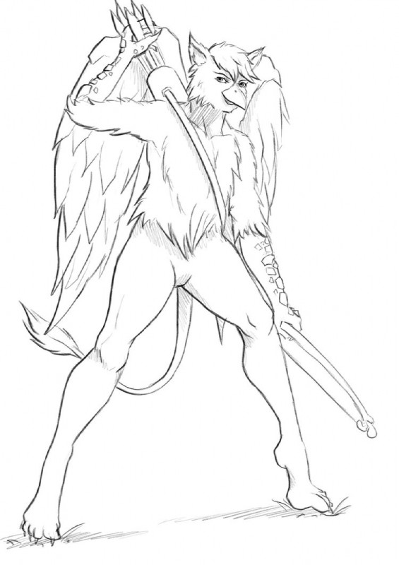 e926 anthro arrow avian beak bow colorless drawing fantasy gryphon holding_object male paper pencil_(artwork) q-arts ribin sketch solo standing taking traditional_media_(artwork)