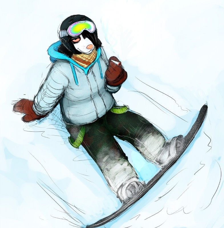 e926 anthro black_hair canine clothing coat dog drugs eyewear female gloves goggles hair high-angle_view hladilnik mammal marijuana michelle_(hladilnik) pink_eyes pink_nose smile snow snowboard solo stoned