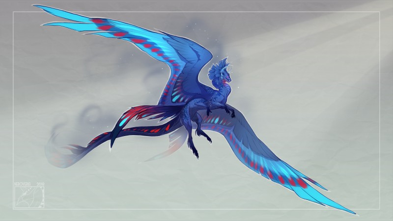 e926 2018 blue_feathers claws digital_media_(artwork) dragon feathered_wings feathers flying horn neboveria simple_background solo wings