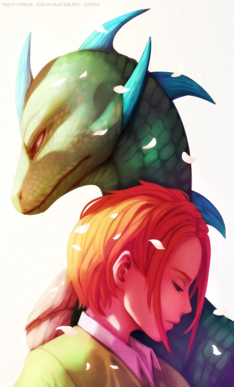 e926 2017 digital_media_(artwork) duo green_scales hair human lizard mammal neytirix red_hair reptile scales scalie simple_background spines white_background