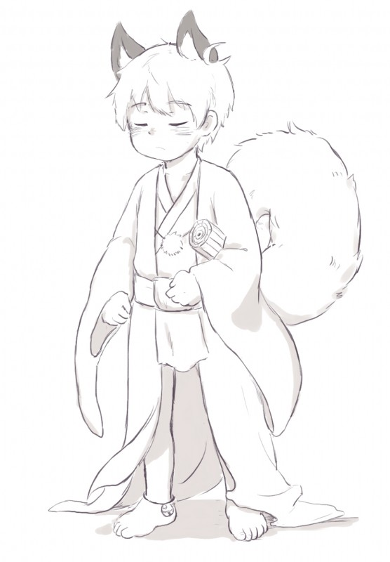 e926 2016 animal_humanoid bell bokustar_fox canine child clothing eyes_closed fox_humanoid humanoid japanese_clothing kimono mammal monochrome simple_background solo white_background young