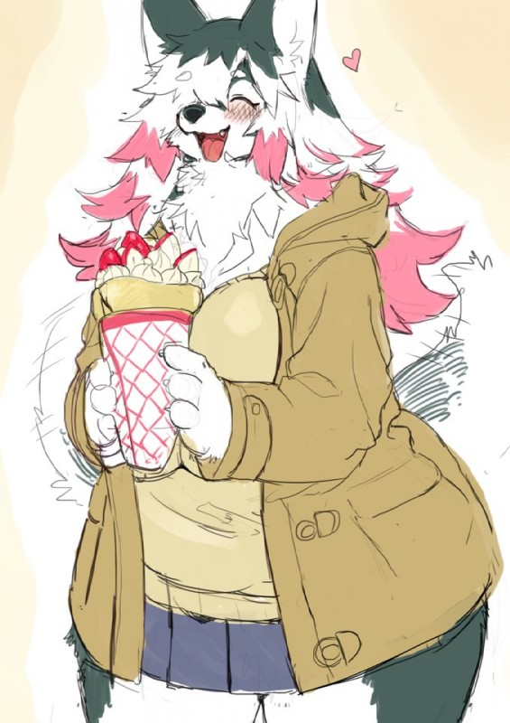 e926 <3 anthro big_breasts big_thighs blush breasts canine chest_tuft clothed clothing coat crepe eyes_closed female food fruit fur grey_fur hair kemono kishibe mammal multicolored_hair overweight skirt smile solo strawberry sweater tuft white_fur wolf